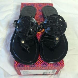 Tory Burch Black Patent Leather Miller Sandals